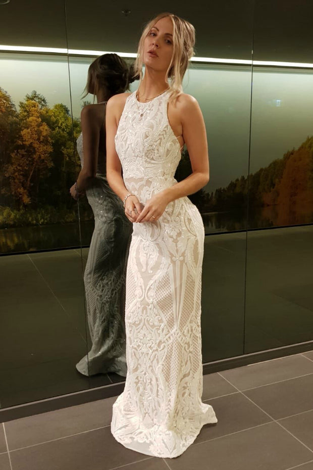 Tinaholy Couture T1868 White & Nude Sequin Formal Gown Dress Tina Holly Couture$ AfterPay Humm ZipPay LayBuy Sezzle