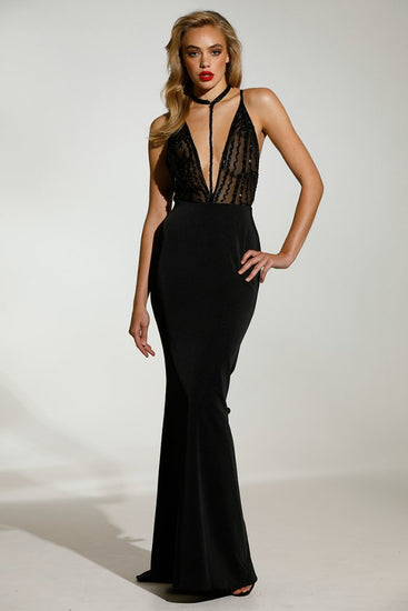 Tinaholy Couture T1887 Black Beaded Satin Lace V Front GownTinaholy CoutureOne Honey Boutique AfterPay OxiPay ZipPay