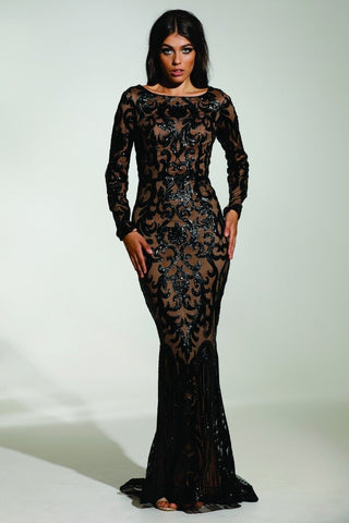 Tinaholy Couture T1890 Black & Nude Long Sleeve Mermaid Formal Gown Prom Dress