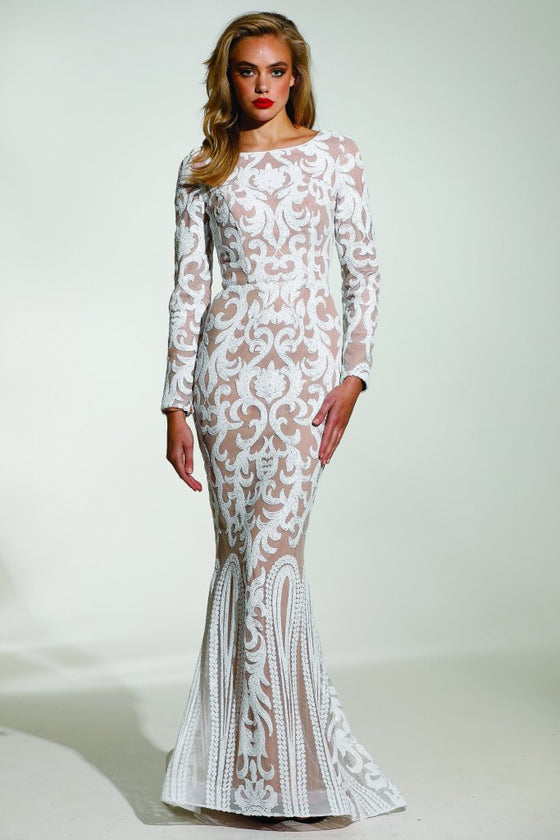 Tinaholy Couture T1890 White & Nude Long Sleeve Mermaid Formal Gown ...