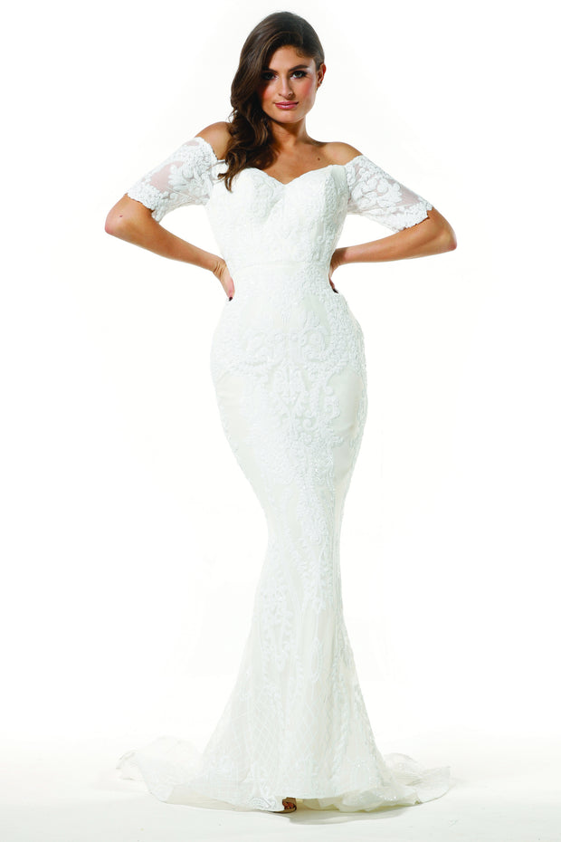 Tinaholy Couture Designer T19005 White Stretch Sequin Formal Wedding Gown Dress Tina Holly Couture$ AfterPay Humm ZipPay LayBuy Sezzle