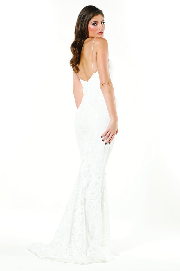 Tinaholy Couture T19280 White & White Wedding Mermaid Formal Dress Tina Holly Couture$ AfterPay Humm ZipPay LayBuy Sezzle