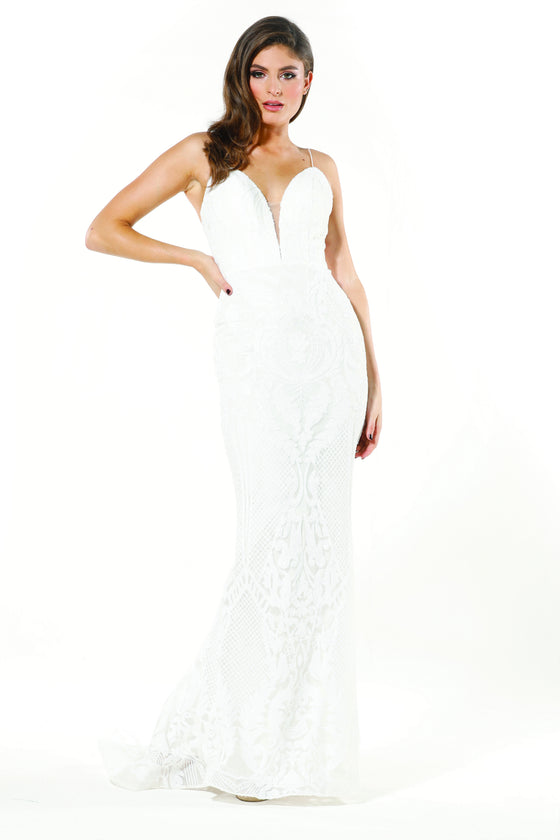 8443c4f2b3666 Tinaholy Couture T19280 White & White Wedding Mermaid Formal ...