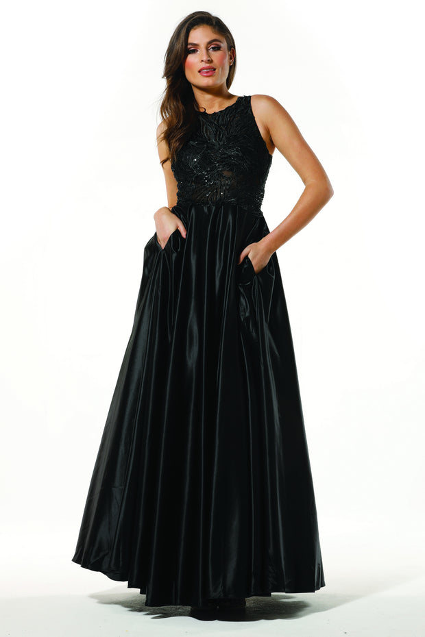 Tinaholy Couture Designer T19435 Black Satin Formal Prom Ball Gown Dress Tina Holly Couture$ AfterPay Humm ZipPay LayBuy Sezzle