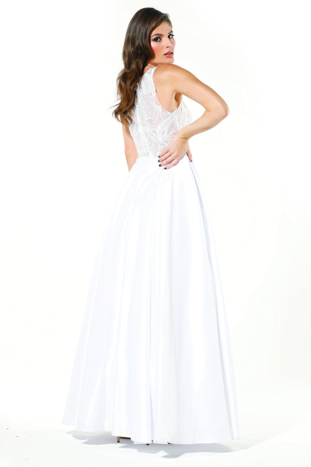 Tinaholy Couture Designer T19435 White Satin Formal Prom Ball Gown Dress Tina Holly Couture$ AfterPay Humm ZipPay LayBuy Sezzle