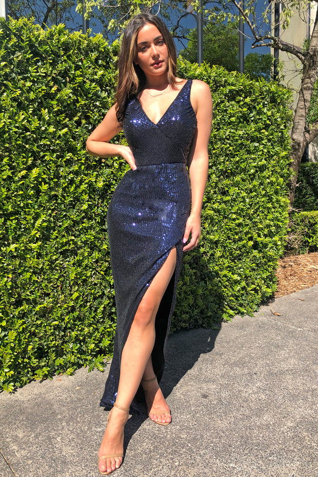 Tina Holly Couture TA007 Navy Blue Sequin Midi Cocktail Dress Tina Holly Couture$ AfterPay Humm ZipPay LayBuy Sezzle