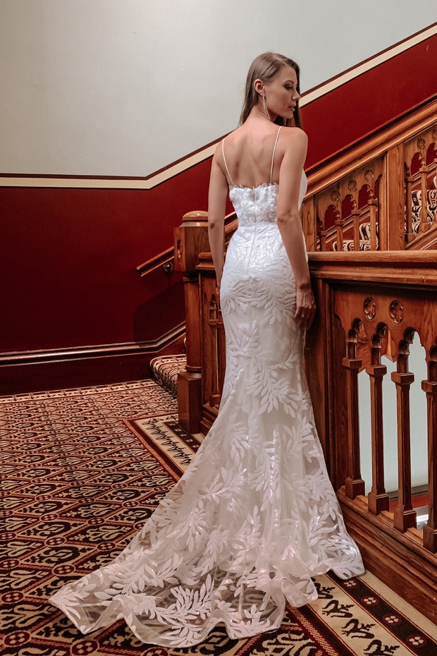 Tina Holly Couture TA107A White Sequin & Lace Mermaid Bridal Formal Dress {vendor} AfterPay Humm ZipPay LayBuy Sezzle