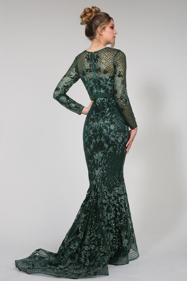 Tina Holly Couture TA139 Emerald Green Sequin Long Sleeve Mermaid Formal Dress