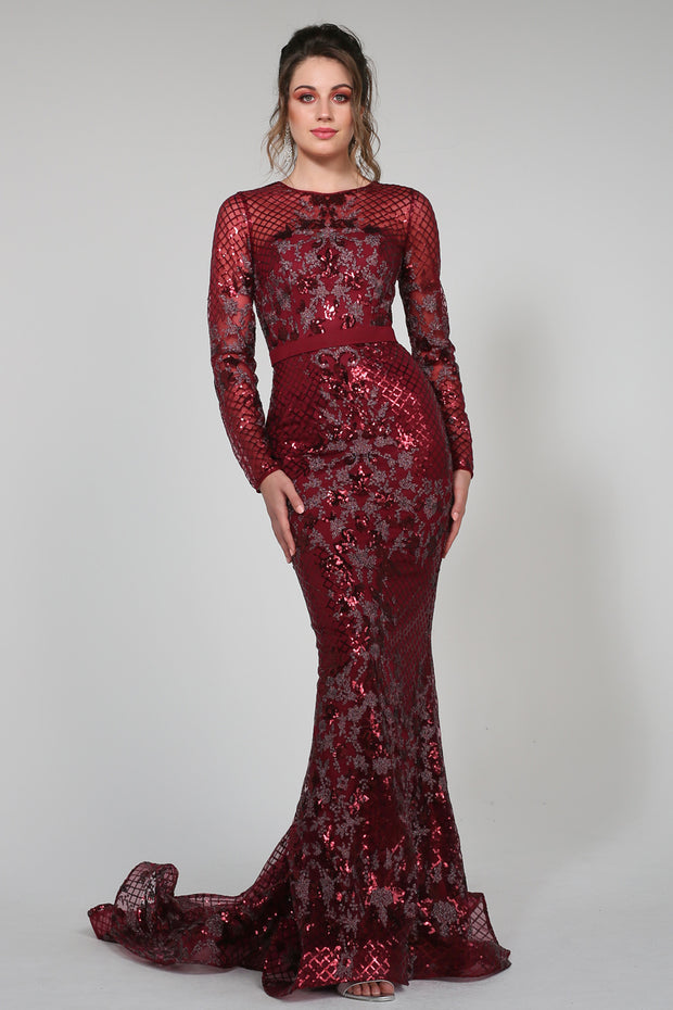Tina Holly Couture TA139 Burgundy Sequin Long Sleeve Mermaid Formal Dress {vendor} AfterPay Humm ZipPay LayBuy Sezzle