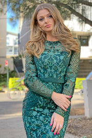 Tina Holly Couture TA139 Emerald Green Sequin Long Sleeve Mermaid Formal Dress {vendor} AfterPay Humm ZipPay LayBuy Sezzle