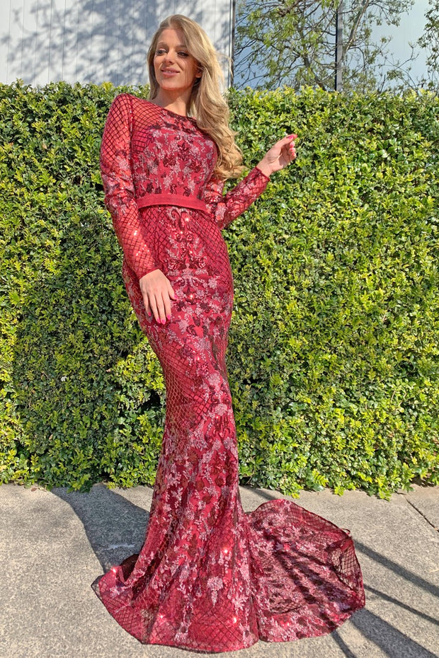 Tina Holly Couture TA139 Burgundy Sequin Long Sleeve Mermaid Formal Dress