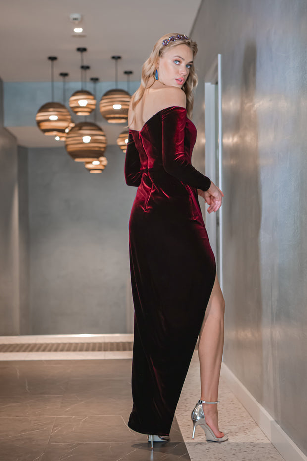 Tina Holly Couture TA301 Wine Red Velvet Long Sleeve Midi Formal Dress {vendor} AfterPay Humm ZipPay LayBuy Sezzle