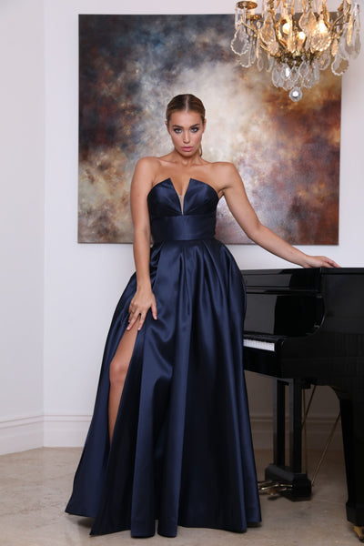 Tinaholy Couture TA611 Navy Blue Strapless Ball Gown Formal Dress