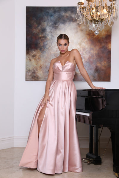 Tinaholy Couture TA611 Dusty Pink Strapless Ball Gown Formal Dress