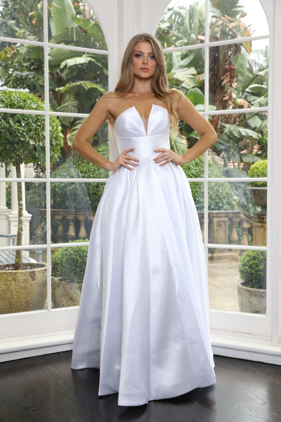 Tinaholy Couture TA611 White Strapless Ball Gown Formal DressTinaholy CoutureOne Honey Boutique AfterPay OxiPay ZipPay