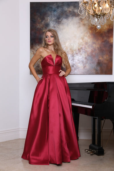 Tinaholy Couture TA611 Wine Strapless Ball Gown Formal Dress