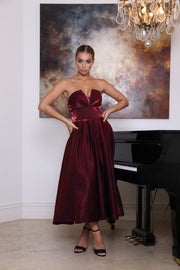 Tina Holly Couture TA625 Berry Satin Strapless Semi Formal Dress Tina Holly Couture$ AfterPay Humm ZipPay LayBuy Sezzle