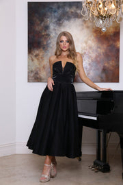 Tina Holly Couture TA625 Black Satin Strapless Semi Formal Dress Tina Holly Couture$ AfterPay Humm ZipPay LayBuy Sezzle