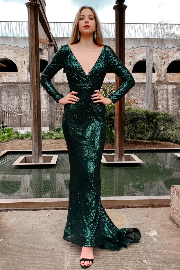 Tina Holly Couture Designer TA803 Emerald Green Long Sleeve Formal Dress {vendor} AfterPay Humm ZipPay LayBuy Sezzle