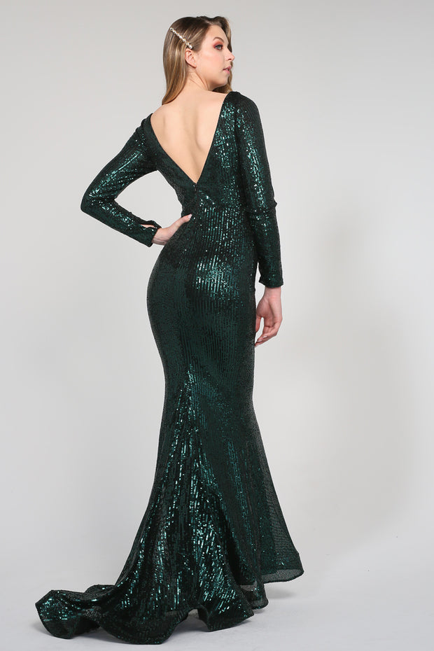 Tina Holly Couture Designer TA803 Emerald Green Long Sleeve Formal Dress