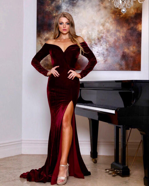 Tinaholy Couture TA807 Wine Red Velvet Long Sleeve Formal Dress
