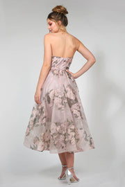 Tina Holly Couture TA819 Pink Floral Chiffon Strapless Midi Semi Formal Dress