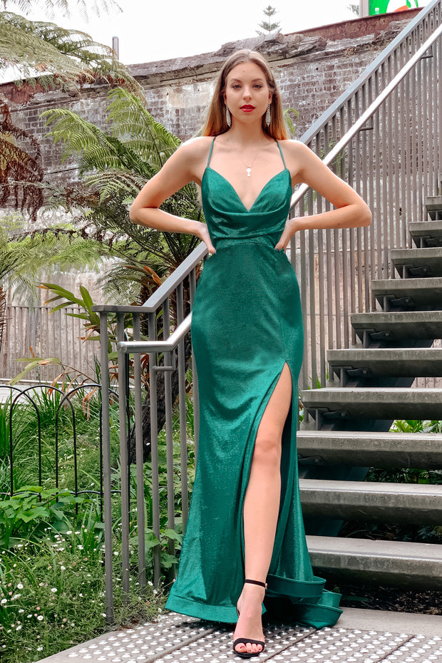 Tina Holly Couture Designer TA821 Emerald Green Cowl Neck Mermaid Formal Dress {vendor} AfterPay Humm ZipPay LayBuy Sezzle