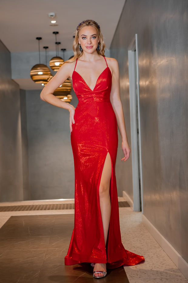 Tina Holly Couture Designer TA821 Red Cowl Neck Mermaid Formal Dress {vendor} AfterPay Humm ZipPay LayBuy Sezzle