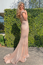 Tina Holly Couture TA822 Rose Gold Sequin Mermaid Formal Dress