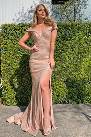 Tina Holly Couture TA822 Rose Gold Sequin Mermaid Formal Dress {vendor} AfterPay Humm ZipPay LayBuy Sezzle