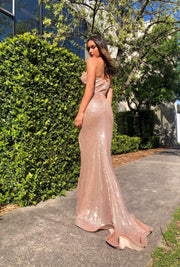 Tina Holly Couture TA823 Rose Gold Sequin Strapless Mermaid Formal Dress Tina Holly Couture$ AfterPay Humm ZipPay LayBuy Sezzle