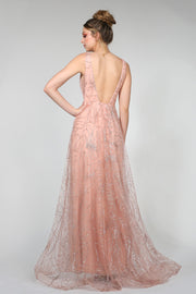 Tina Holly Couture Designer TA919 Rose Pink Glitter Ball Gown Formal Dress