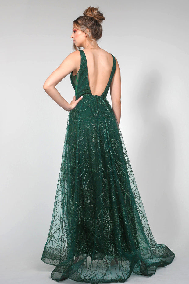 Tina Holly Couture Designer TA919 Emerald Green Glitter Ball Gown Formal Dress