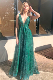 Tina Holly Couture Designer TA919 Emerald Green Glitter Ball Gown Formal Dress {vendor} AfterPay Humm ZipPay LayBuy Sezzle