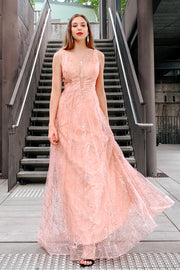 Tina Holly Couture Designer TA919 Rose Pink Glitter Ball Gown Formal Dress {vendor} AfterPay Humm ZipPay LayBuy Sezzle