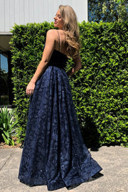 Tina Holly Couture Designer TH018 Blue Floral Ball Gown Formal Dress