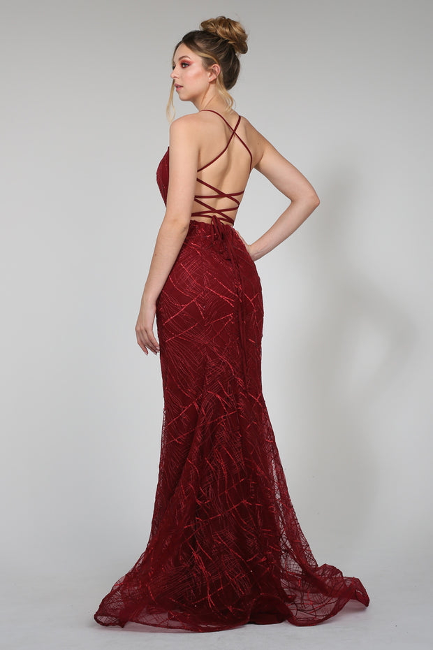 Tina Holly Couture Designer TW001 Wine Mermaid Formal Dress