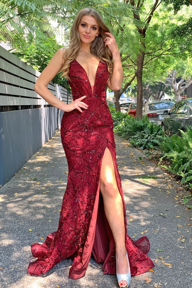 Tina Holly Couture Designer TW001 Wine Mermaid Formal Dress {vendor} AfterPay Humm ZipPay LayBuy Sezzle
