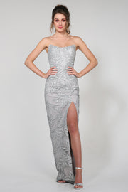 Tina Holly Couture Designer TW003 Silver Sequin Strapless Midi Dress