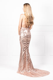 Honey Couture TILDA Gold Low Back Sequin Mermaid Formal Gown Dress Honey Couture$ AfterPay Humm ZipPay LayBuy Sezzle