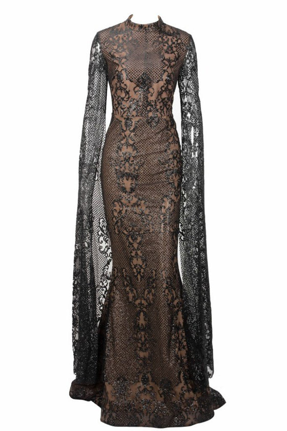 Honey Couture ZHAVA Black & Nude Lace Long Sleeve Formal Gown DressHoney CoutureOne Honey Boutique AfterPay OxiPay ZipPay