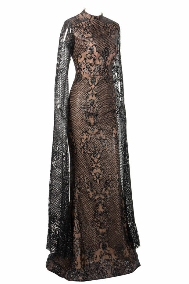 Honey Couture ZHAVA Black & Nude Lace Long Sleeve Formal Gown Dress Honey Couture$ AfterPay Humm ZipPay LayBuy Sezzle
