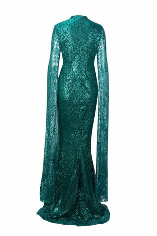 Honey Couture ZHAVA Emerald Green Lace Long Sleeve Formal Gown Dress