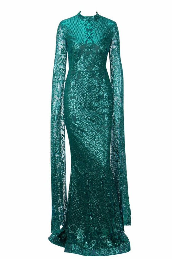 97c5619fb3b0 Honey Couture ZHAVA Emerald Green Lace Long Sleeve Formal Gown DressHoney  CoutureOne Honey Boutique AfterPay OxiPay