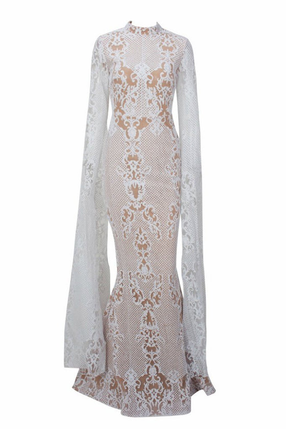 Honey Couture ZHAVA White Nude Lace Long Sleeve Formal Gown Dress Honey Couture One Honey Boutique AfterPay ZipPay OxiPay Laybuy Sezzle Free Shipping