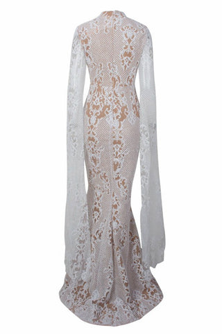Honey Couture ZHAVA White Nude Lace Long Sleeve Formal Gown Dress