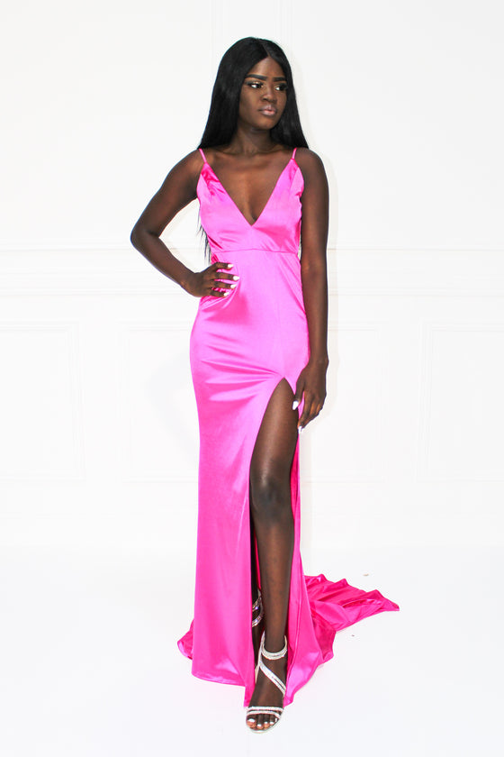 ca618c63d1fe3 Honey Couture MILEE Hot Pink Low Back Mermaid Evening Gown ...