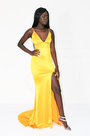 Honey Couture MILEE Yellow Low Back Mermaid Evening Gown Dress Honey Couture$ AfterPay Humm ZipPay LayBuy Sezzle