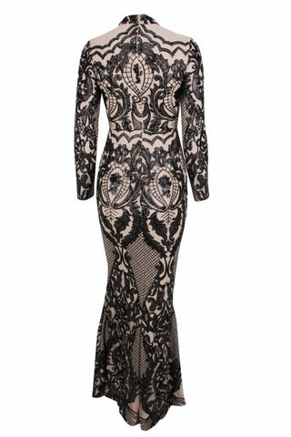 Honey Couture ZURI Black & Nude Lace Long Sleeve Formal Gown Dress Honey Couture One Honey Boutique AfterPay ZipPay OxiPay Laybuy Sezzle Free Shipping