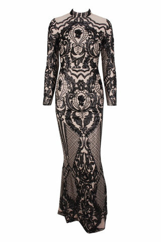 Honey Couture ZURI Black & Nude Lace Long Sleeve Formal Gown Dress